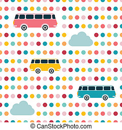 Kids wall paper design. Retro bus concept. Colored vector...