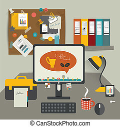 Work office table Flat design vector illustration Table with...