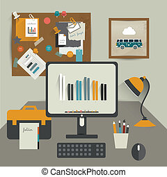 Work office table. Flat design vector illustration. Table...