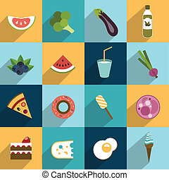 Collection of diet and fat food. Fruit, vegetable, cakes,...