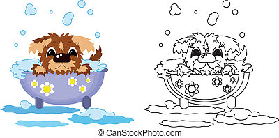 Puppy in the bath ,coloring.