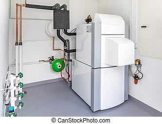 A Boiler Room - A boiler room with a heating oil warm water...