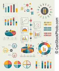 Set of infographic elements Collection of graphs, charts,...