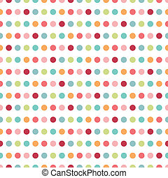 Colorful flat repeat wall paper polka dot design. Warm girl...