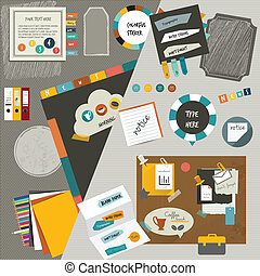 Work office web layout. Colorful graphic template. Folder,...