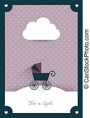 New born invitation vintage card template Retro buggy...