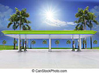 beautiful oil fuel gasoline service station under conception...