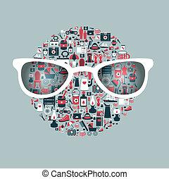 Retro circle design. Collection of