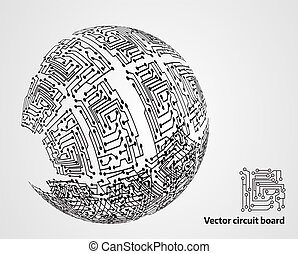 Circuit board sphere - abstract modern background
