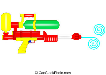 Water gun - A istolated plastic water gun on white