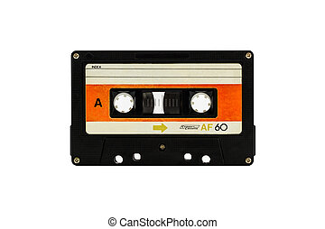 Cassette tape - Closeup cassette tape isolate on white...