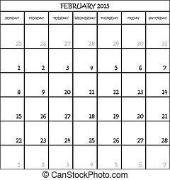 2 月, 2015, カレンダー, 立案者, 月, 上に,...