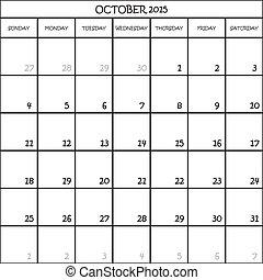 OCTOBER 2015 CALENDAR PLANNER MONTH ON TRANSPARENT...