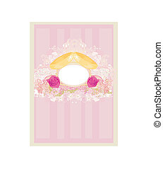 vintage wedding card with rings
