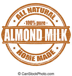 Almond milk - Stamp with text almond milk inside, vector...