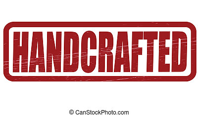 Handcrafted - Stamp with word handcrafted inside, vector...