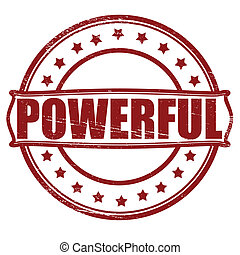 Powerful - Stamp with word powerful inside, vector...