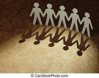 Grupo, papel, pessoas, segurando, mãos