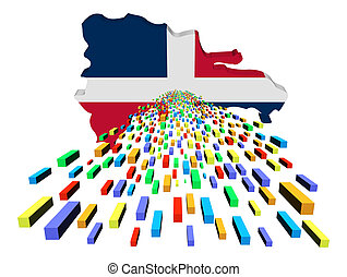 Dominican Republic map flag with containers illustration