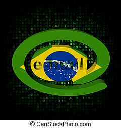 e-mail address AT symbol with Brazil flag on hex...