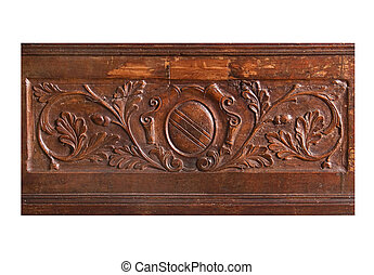 wood relief - aged ornamental flloral medieval wood relif...