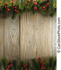 Christmas fir tree on wood texture. background old panels -...