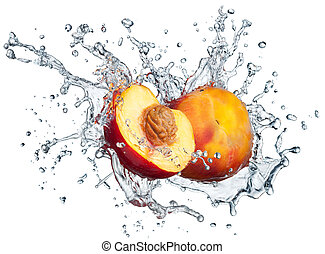 Peach in spray of water. Juicy peach with splash on white...