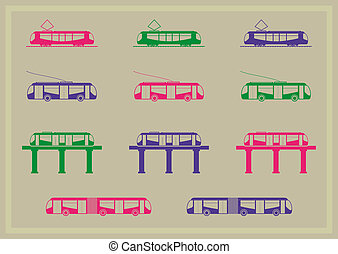 Public transportation icons series Bus, trolleybus, monorail...
