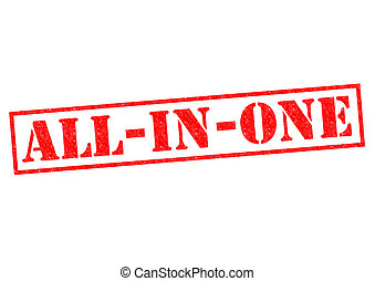 ALL-IN-ONE red Rubber Stamp over a white background.