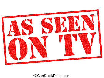 AS SEEN ON TV red Rubber Stamp over a white background