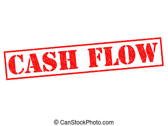 CASH FLOW red Rubber Stamp over a white background.