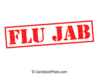 FLU JAB red Rubber Stamp over a white background.