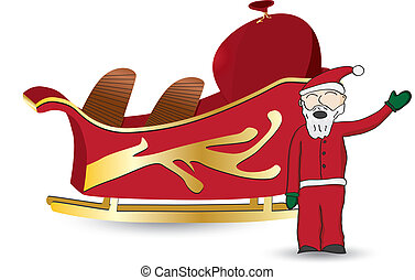 Santa and sled - Santa Claus in red waving standing next to...