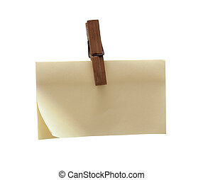 Clothes pin holding blank post-it - Clothes pin holding...