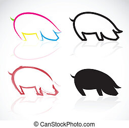 Vector image of an pigs on white background