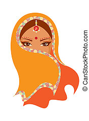 Vector illustration of an Indian woman - Vector illustration...