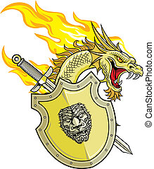 dragon and shield - illustration of flaming dragon with...