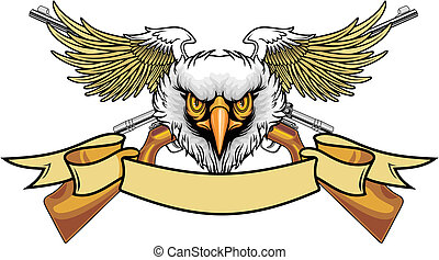 eagle and rifles - illustration of balded eagle with wings...