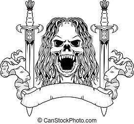long hair skull with sword - illustration of long hair skull...