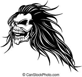 long hair skull - illustration of black white long hair...