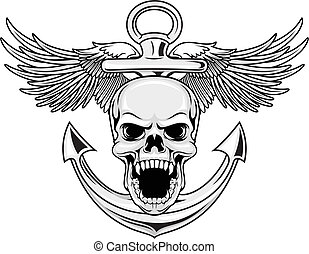 navy skull - illustration of skull with anchor and wings in...