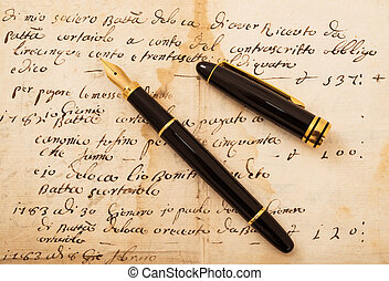Fountain pen on letter - Fountain pen with cap on an antique...