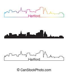 Hartford skyline linear style with rainbow in editable...