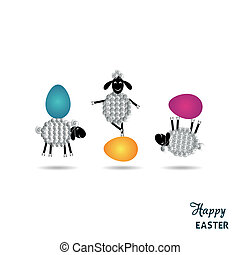 Easter card - Happy easter card with funny lambs and eggs