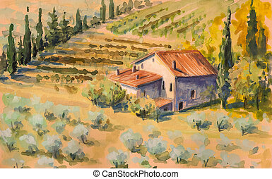 Tuscany - Country landscape with typical Tuscan hills in...