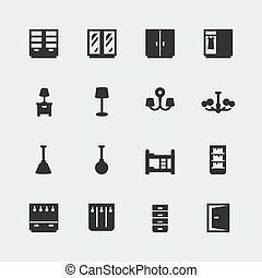 Vector home furniture mini icons set 2