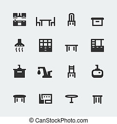 Vector kitchen furniture mini icons set