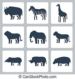 Vector animals of tropical zone icons set