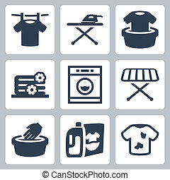 Vector laundry icons set