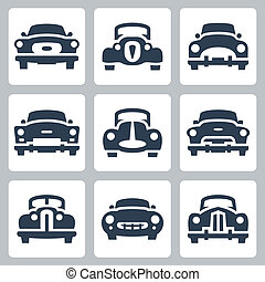 Vector old cars icons set, front view